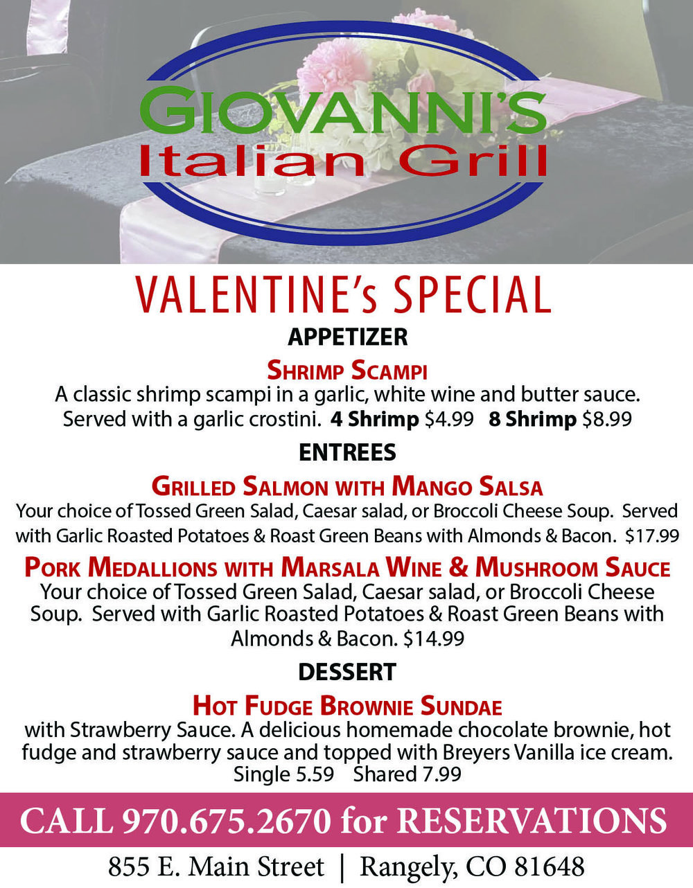 I don't know about you, but this menu is making me hungry already! Don't forget the Rec Center is offering their Date Night Daycare for Valentines!