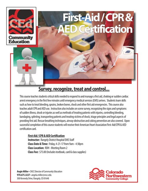 First Aidcpr Aed Certification Class Home On The Rangely