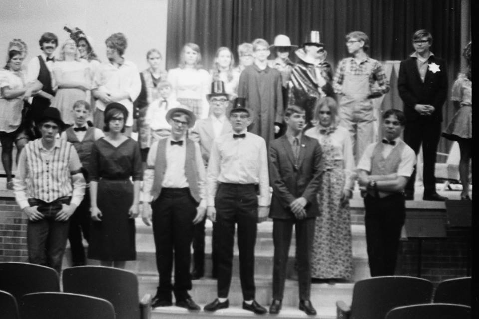 """The cast of """"GOLD IN THE HILLS,"""" the 1972 Rangely High School """"All School Play."""" This, historically, was presented in the spring of the school year."""