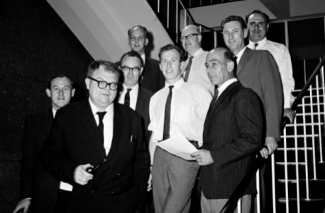 The first ASA Council, from left to right: Harley Wood, Olin Eggen, Ben Gascoigne, Donald Mugglestone, Bob Shobbrook, Ron Giovanelli, Steve Smerd, Paul Wild and John Harris. Absent are Kevin Sheridan and John Carver. Courtesy CSIRO Radio Astronomy Image Archive.