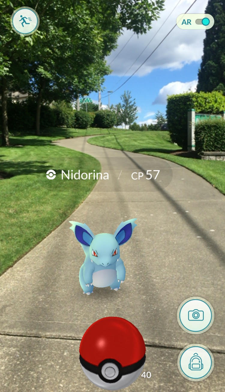 A screen capture of Pokémon GO gameplay. The app gives users an augmented reality experience through rendering digital Pokémon in real time overthe phone's camera view of the real world.