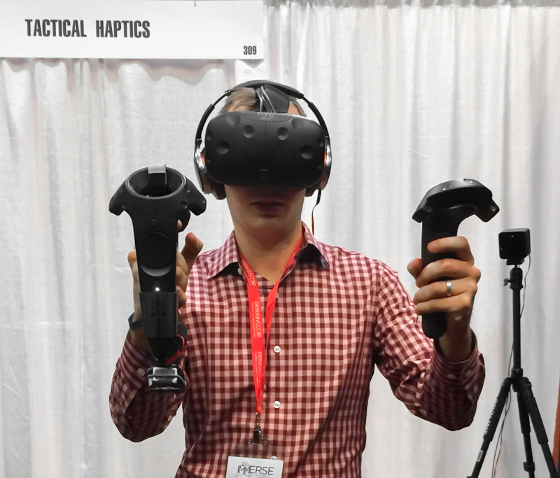 I tested Tactical Haptics' controller (right hand) in NVIDIA's Funhouse VR experience.