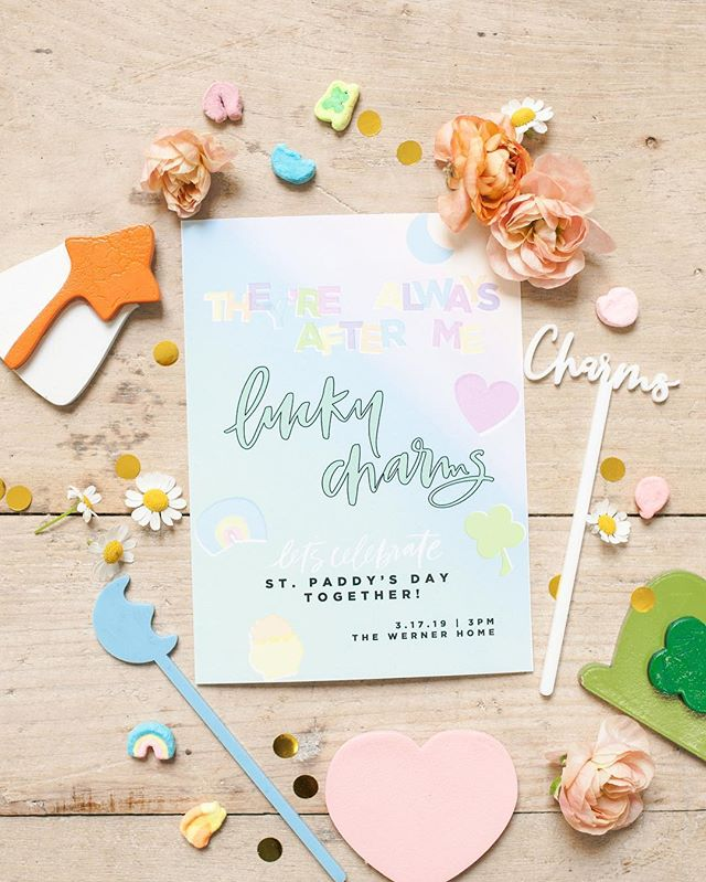 Magically delicious 💚 Love me some St. Patrick's Day fun- loved designing this little invite for my fav holiday (maybe second to the 4th of July) and then there's that cake 😍🍀 | Design & Planning - @beijosevents / Photographer - @corrielynnphoto / Venue & Rentals - @sweetsalvagerentals / Florals - @wilddarlingfloral / Balloons - @up_up_intheair / Signage & Details - @creativeamme / Plates - @wittybash / Napkins - @daydream.society / Cups - @lentramise / Flatware - @merimeriparty / Invite - @meghannminiello / Desserts - @sugarcrushsweets / Kid's Clothing - @pinkchickenny