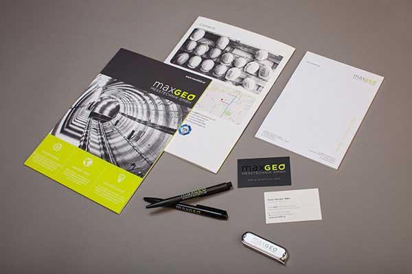 Einige Produkte, die wir für maxGEO gestaltet haben.