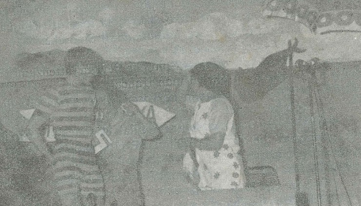 """Flash sulla battuta """"La Marianna russa? ... un sia mai ditto! io son Cafagginotta""""!  """"Marienna checchè"""" rappresentata dalla Compagnia Dialettale Versiliese a Querceta nel 1970. In scena, Elena Carducci (Marianna), Rita Barsi (Carolina), Mauro Giannarelli (Beppino)"""
