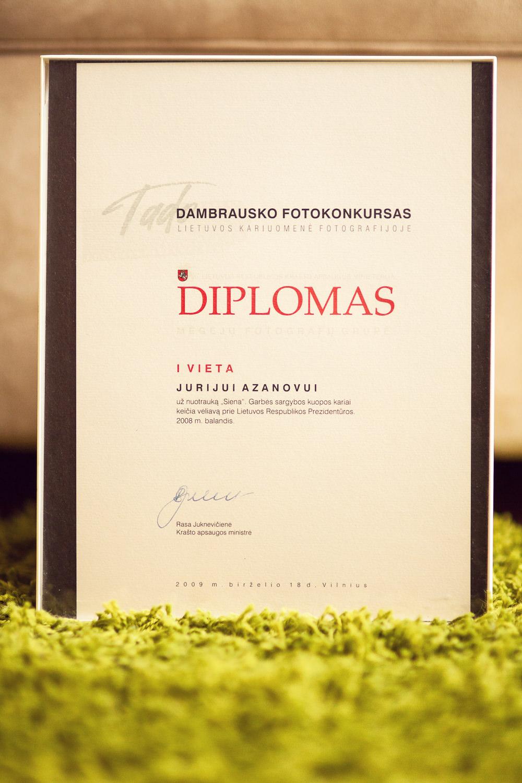 "Tado Dambrausko Fotokonkursas ""Lietuvos kariuomenė fotografijoje 2008""  - 1 vieta."