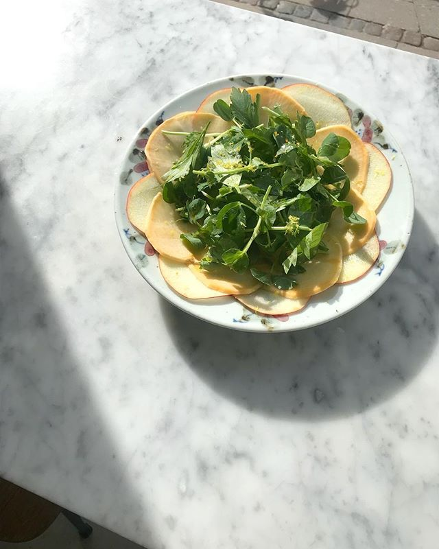 Still very shy sunrays over our first spring dish on the menu - apple, kohlrabi, lovage & pea shoots #springishere #sunshine #atelierseptember 🍏🍎🌞