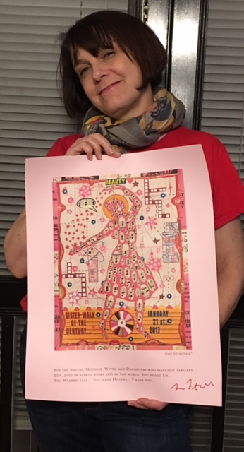 Laurie Williams with Tony Fitzpatrick's poster for the January 2017 Women's March