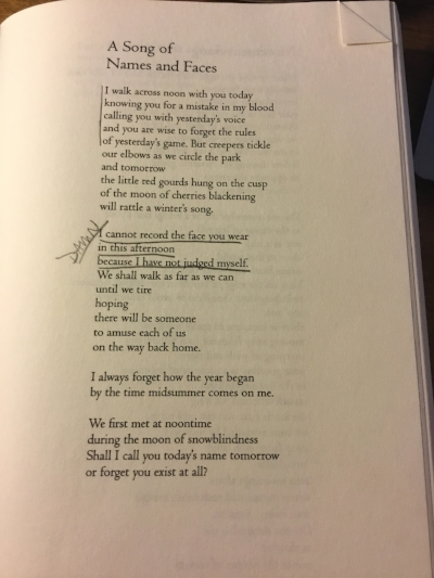 "m.e. riley's copy of Audre Lorde's ""A Song of Names and Faces."""