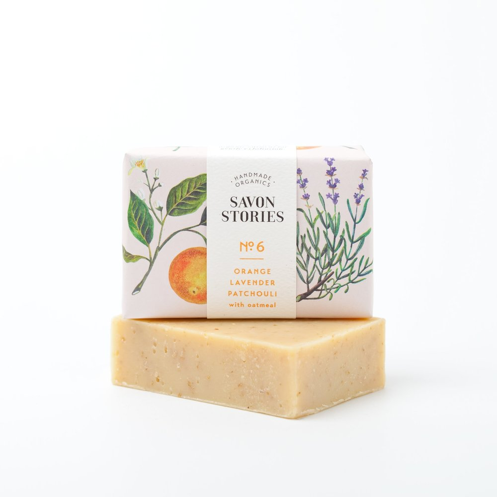 Savon n°6 Orange, lavande, patchouli, avoine - 9,50 €