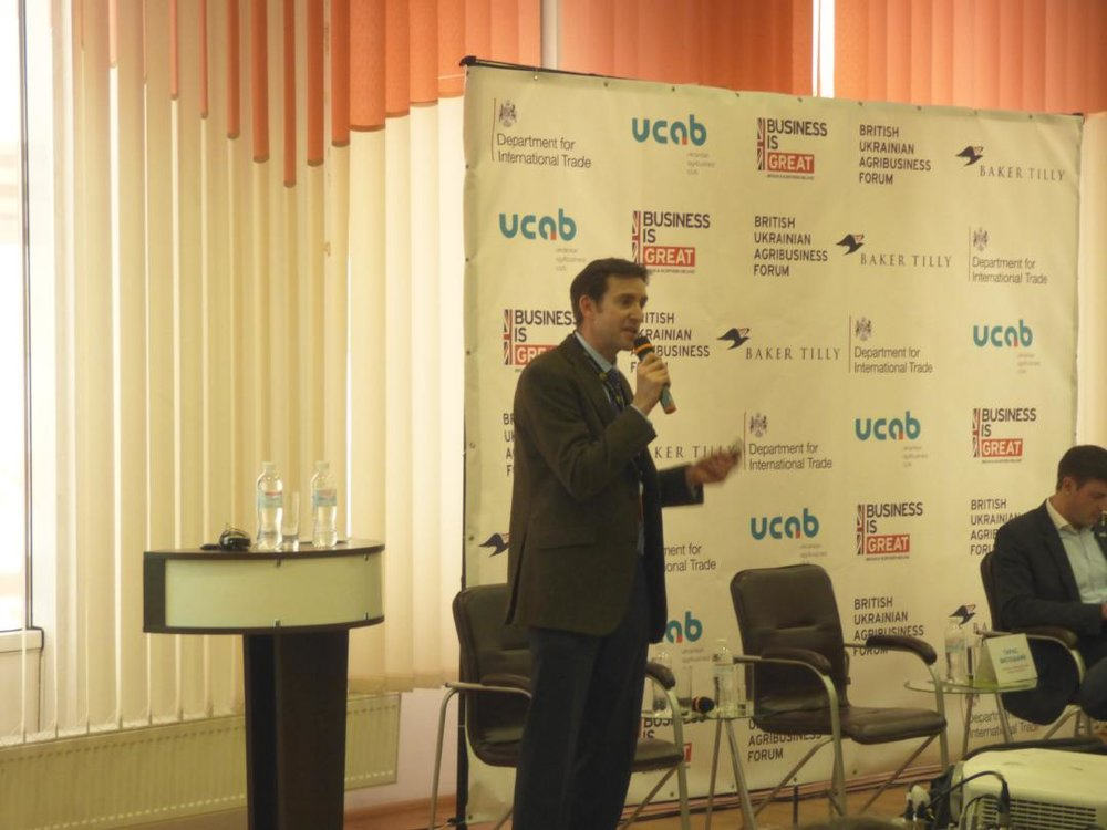 Richard Saunders speaking at British-Ukrainian Agribusiness Forum