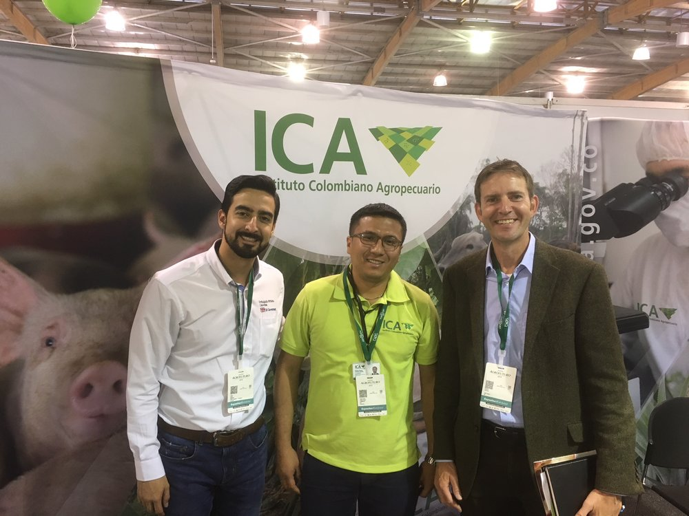 Pedro Castro (left) and Richard Saunders (right) meeting with ICA (Institute of Colombian Agriculture) to discuss export certification