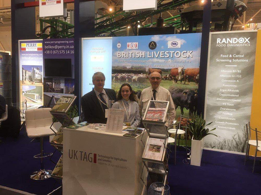 Edward Adamson, Alina Bolynets (interpreter) & Chris Jackson on the British Livestock stand
