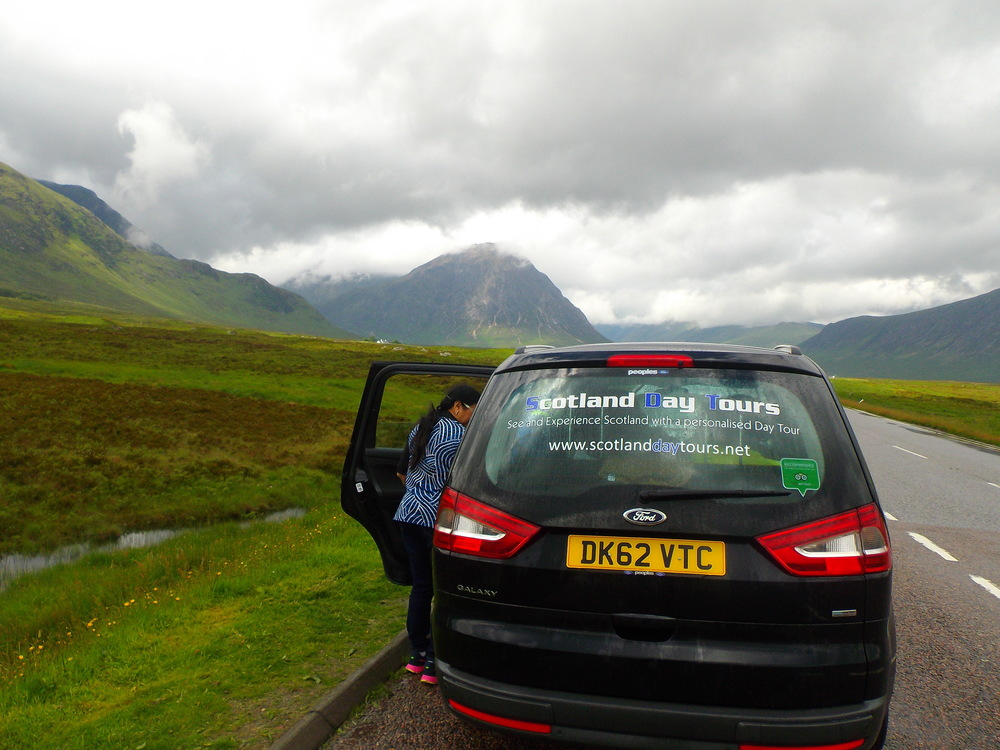 Our tour vehicle at the entrance to Glen Coe