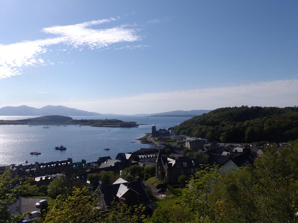 The view from Oban looking to the Isle of Mull