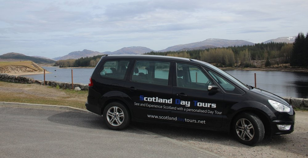 Our tour vehicle at Loch Laggan