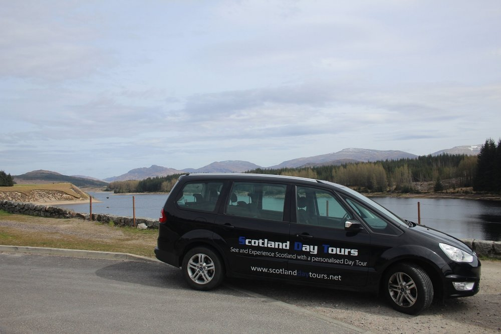 Our vehicle at the River Spean viewpoint