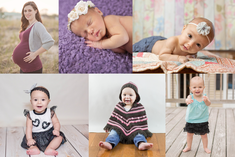 Maternity, Newborn, 3 Months, 6 Months, 9 Months & 1 Year.   A Grow With Me Session by Photography by Mallory