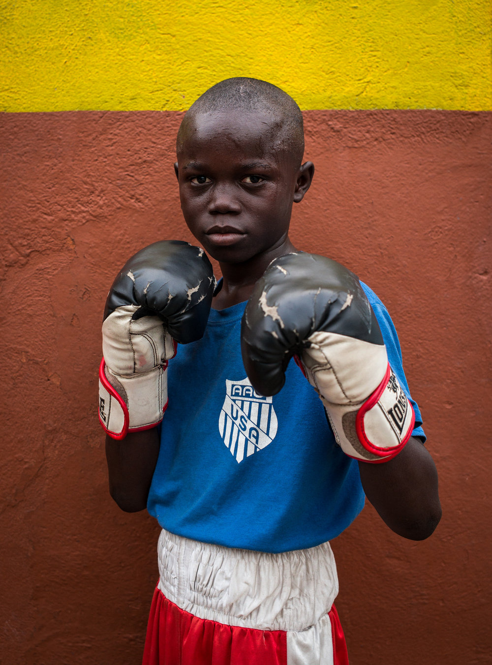 Ebanezer Ankrah, 11, training at the Black Panthers boxing Gym, James Town