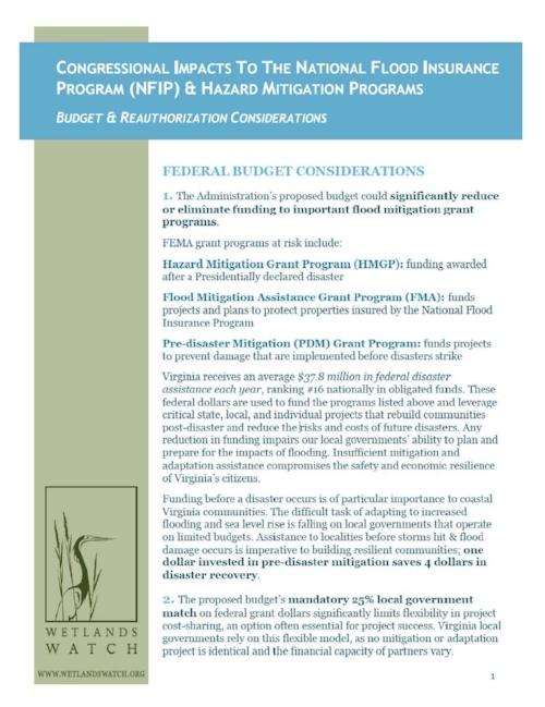 Congressional Impacts to NFIP HazMit