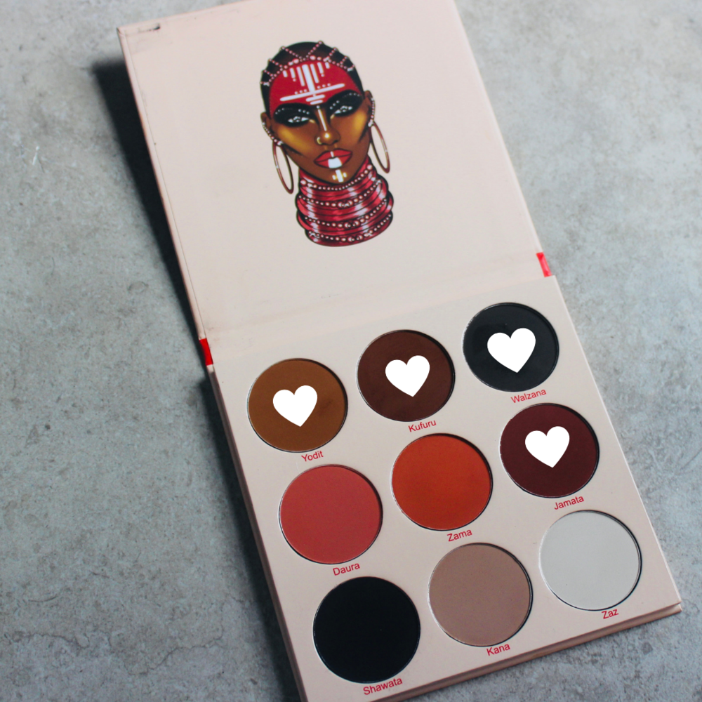 "The Warrior Palette    |  I used the two brownish shades on the top row as my second and third crease color. ""Yodit"" first then I put ""Kufuru"". I then used ""Walzana"" and ""Jamata"" to darken up the crease and outer corner.  ($20 & currently sold out on the Juvia's Place  website )"