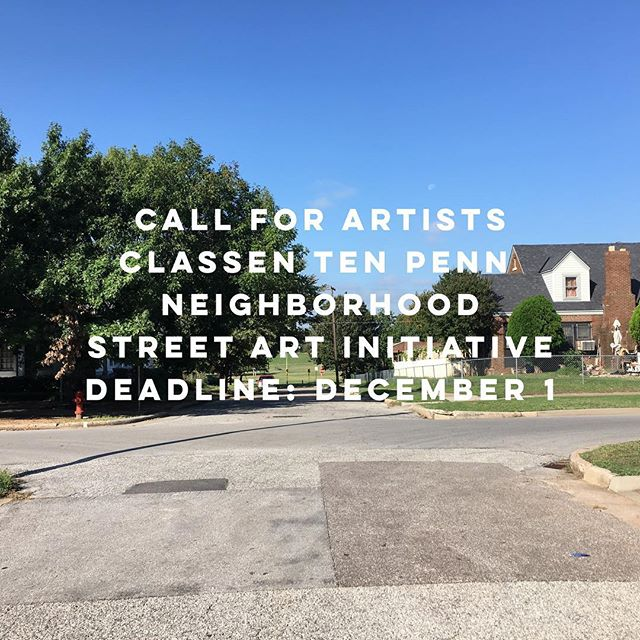 CALL FOR ARTISTS: Current Studio, in partnership with Classen Ten Penn Neighborhood Association, supported by @okc_sni and @midamericaartsalliance seek proposals from artists for intersection art and an artistic bike rack. Deadline December 1. For details and budget information visit www.currentstudio.org/classen-ten-penn-public-art/ #classentenpenn #publicart #callforartists #safety #beautification #neighborhood