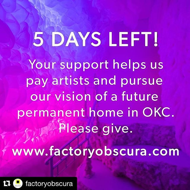 Our Artists in Residence have made something incredible, but the idea doesn't stop there... #Repost @factoryobscura ・・・ Just 5 DAYS REMAIN to reach our goal on our @hatchfund campaign. These funds help us pay our artists and pursue our long term vision of a future permanent home in OKC. Won't you join us in this dream? Direct link in bio. Photo: @brandonseekins #factoryobscura #dreambig #givebig #immersive #experience #supportlocalartists