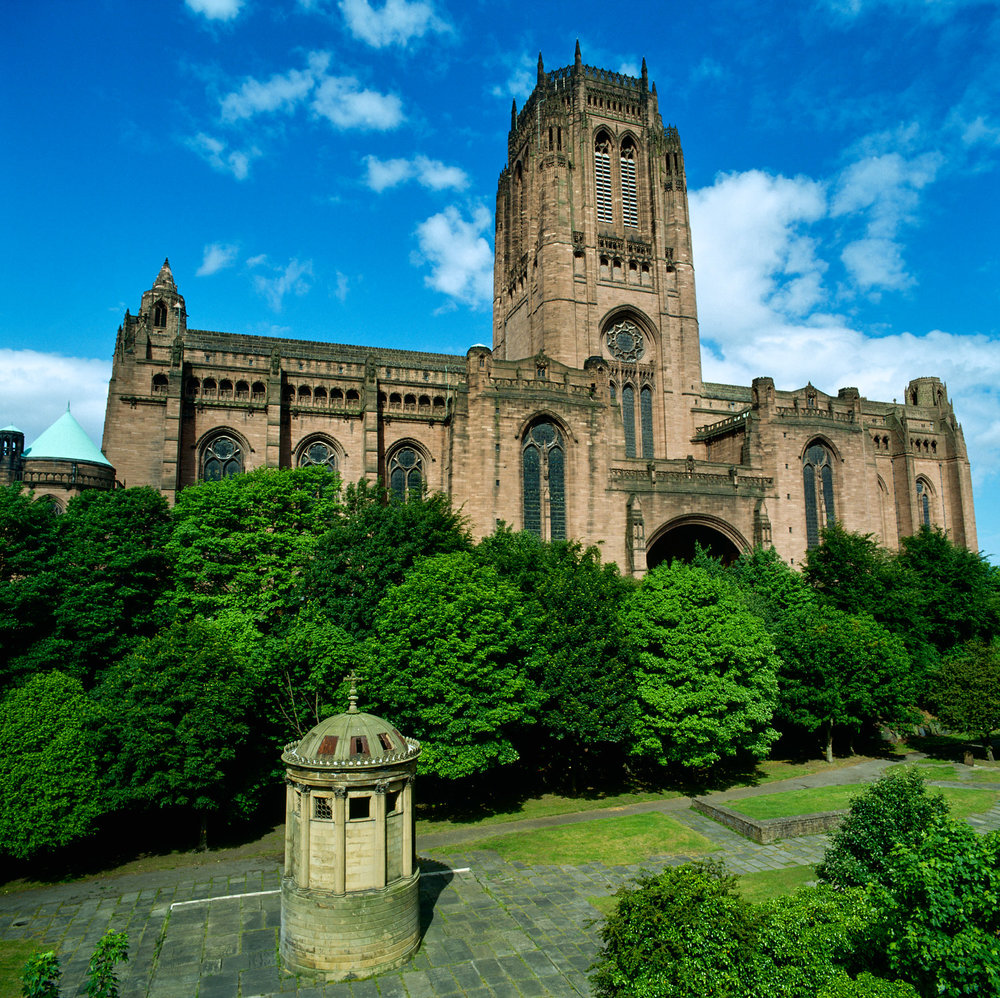 Liverpool Cathedral, from the upper levels of St James cemetery