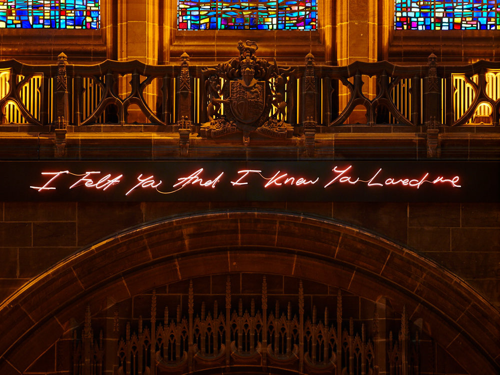'For You' Liverpool Cathedral, artist Tracey Emin