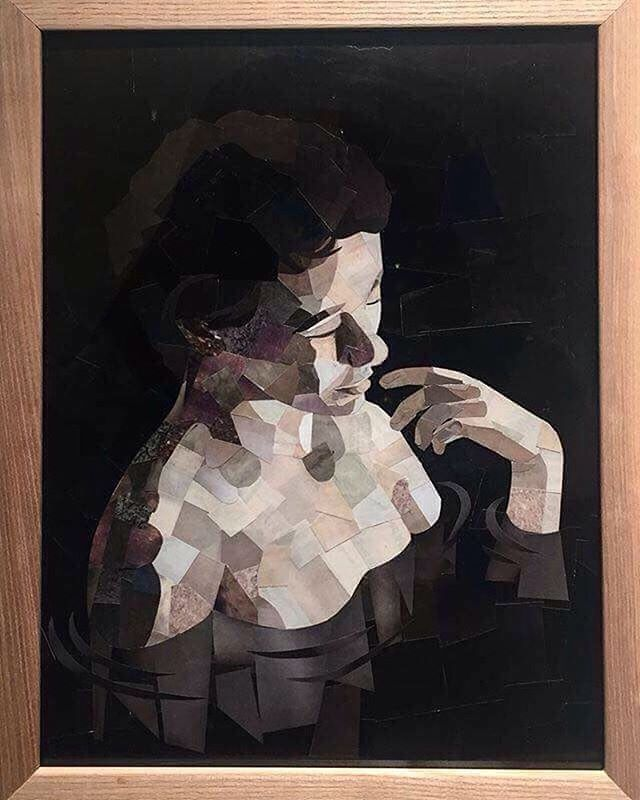 """The final version of """"Wade"""" which found a lovely home following my show @beresford_studios #collage #woman #depression #darkness #fineart"""