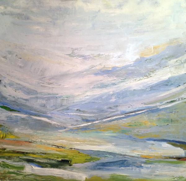 Blue Bridges, 30x30, Oil on Canvas