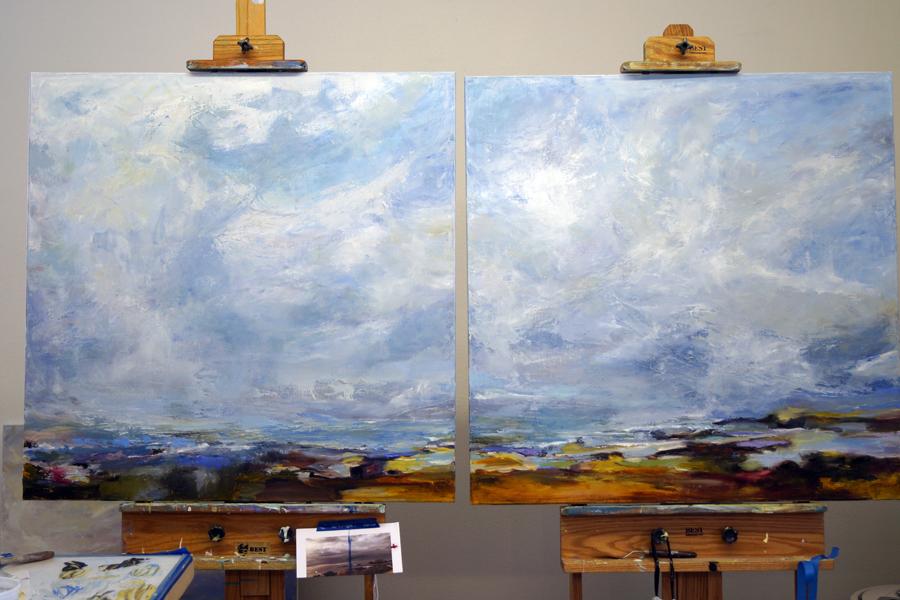 Aptos Views, 36x36, Oil on Linen, In Progress