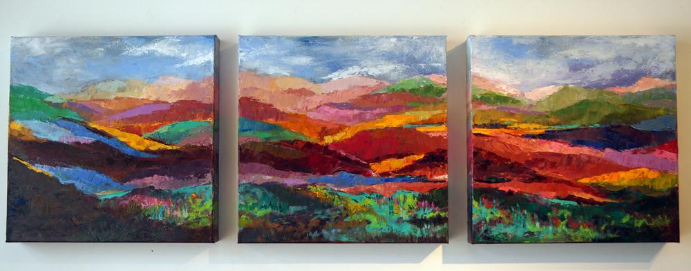Sunday on the Hudson, 16x16 (3pcs), Oil on Canvas