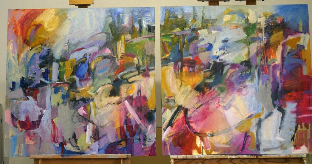Strawberry Hills I&II, 36x36 each, Oil on Canvas