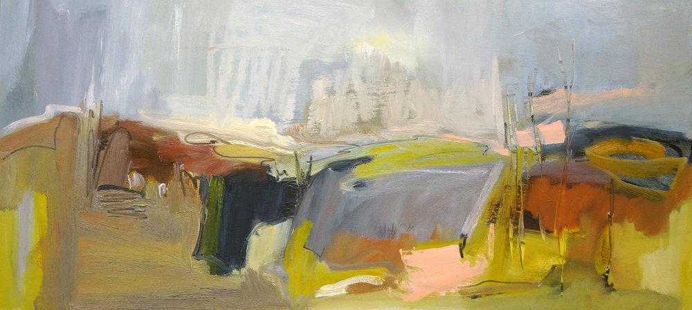 Hudson Four, 14x30, Oil on Panel