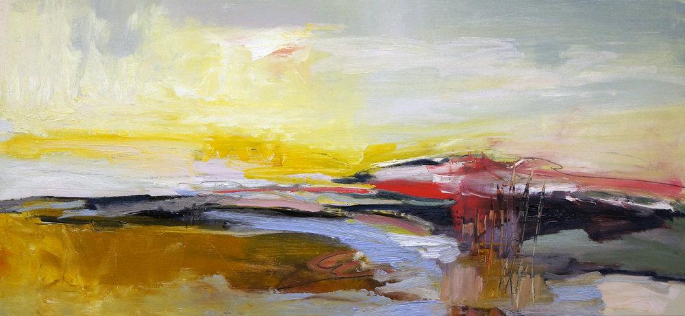 Hudson Three, 14x30, Oil on Panel