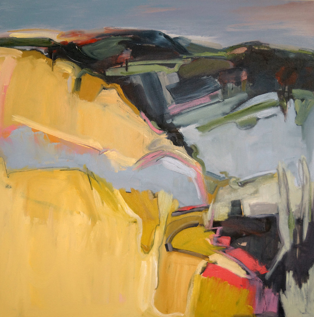 Rose and Ochre Hill, 36x36, Oil on Canvas