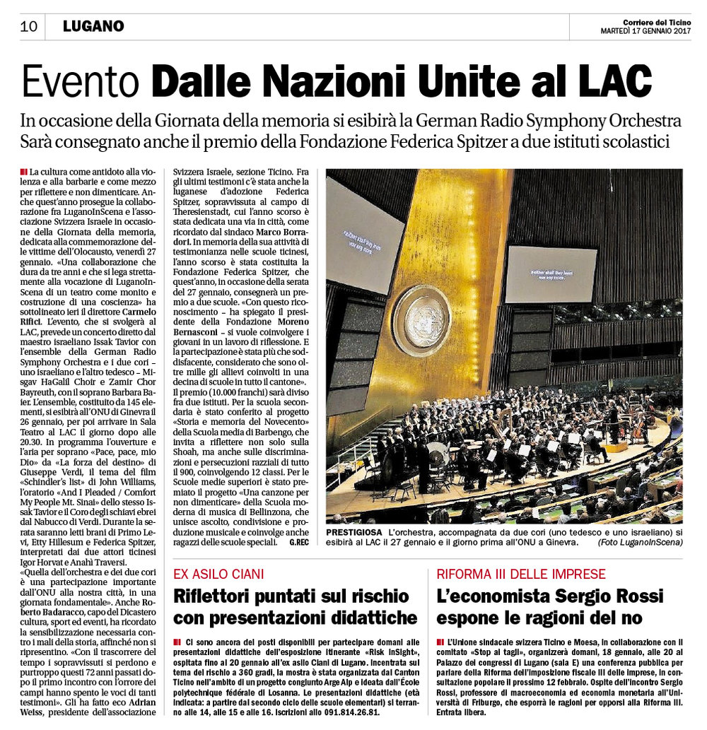 17.01.2017 - Corriere del Ticino