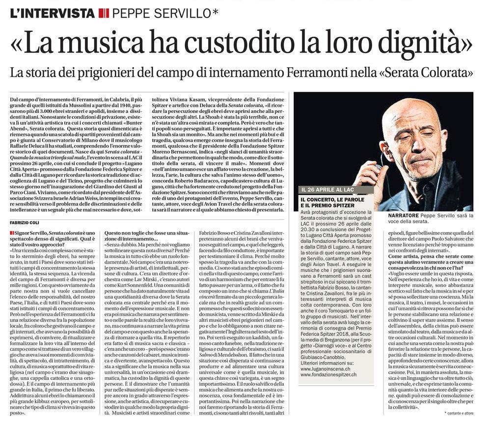 14.04.18 - Corriere del Ticino