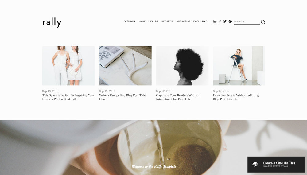Rally Template - Squarespace Website Templates   spacesquared ...