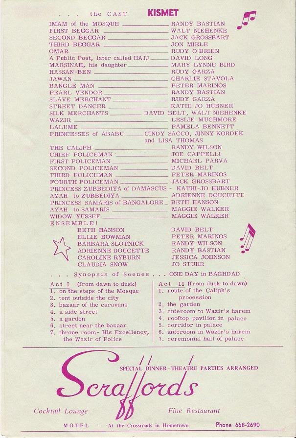 Lakewood Musical Playhouse Program Credits 1971