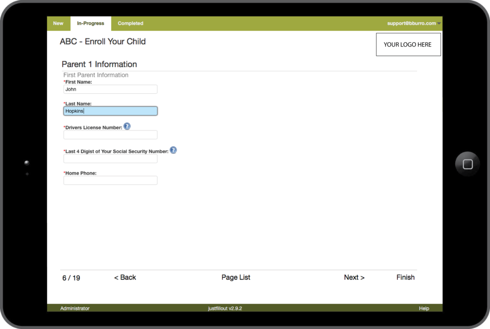 enrollment interview screen