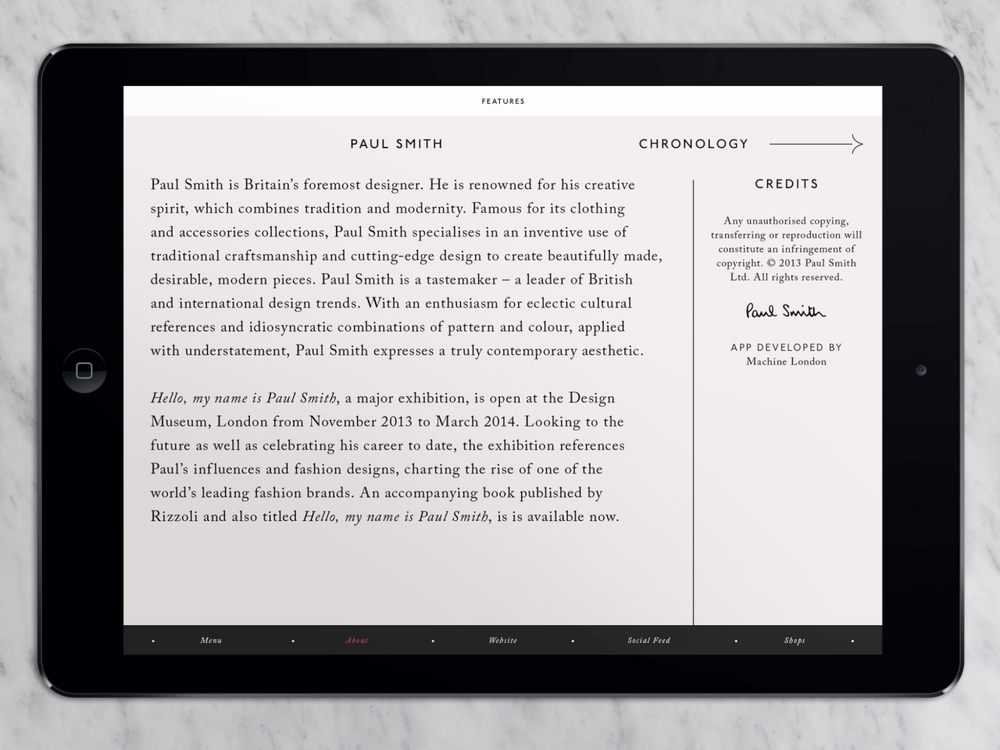 Paul Smith iPad App