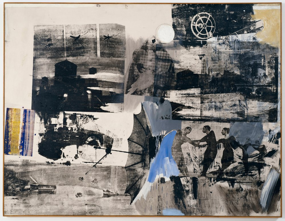 1. Robert Rauschenberg,   Scanning  , 1963; oil and silkscreen ink on canvas, 55 3/4 x 73 in. (141.61 x 185.42 cm); Collection SFMOMA, Fractional and promised gift of Helen and Charles Schwab; © Robert Rauschenberg Foundation / Licensed by VAGA, New York, NY; photo: Ben Blackwell