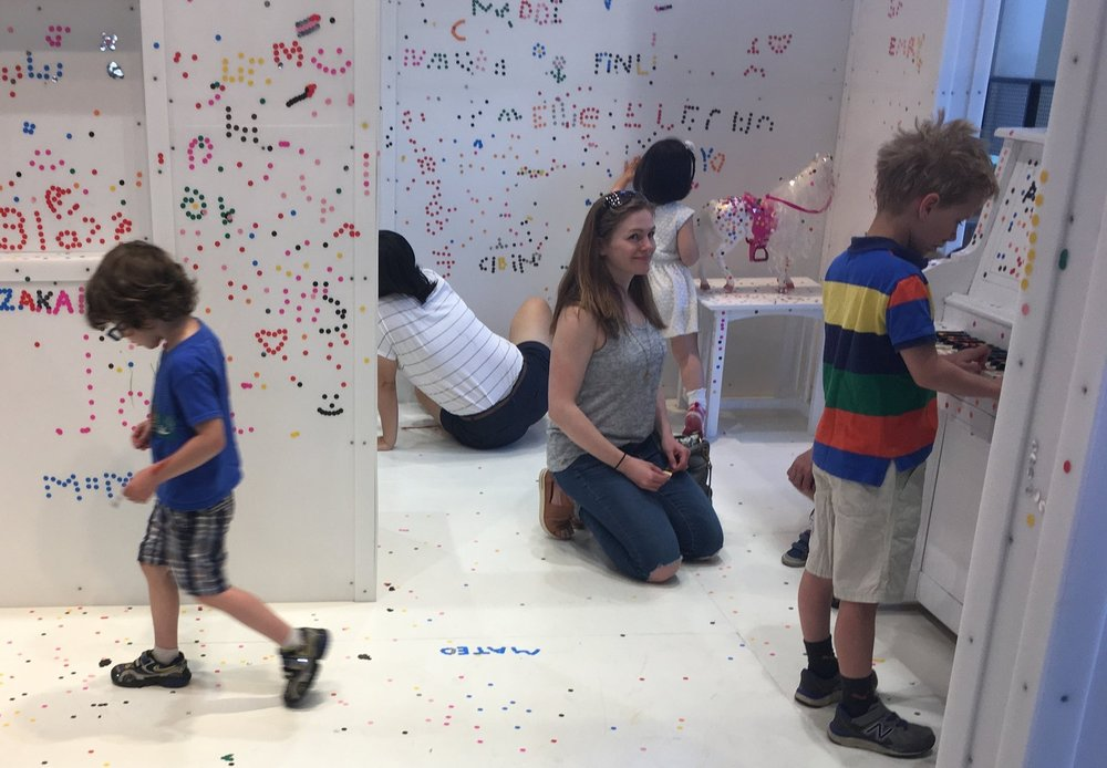 Everyone can contribute to the art and design of the white room.