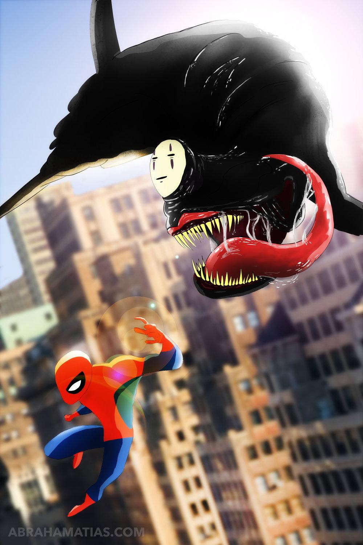 Spiderman Vs. No-Face Mash-Up Fan Art