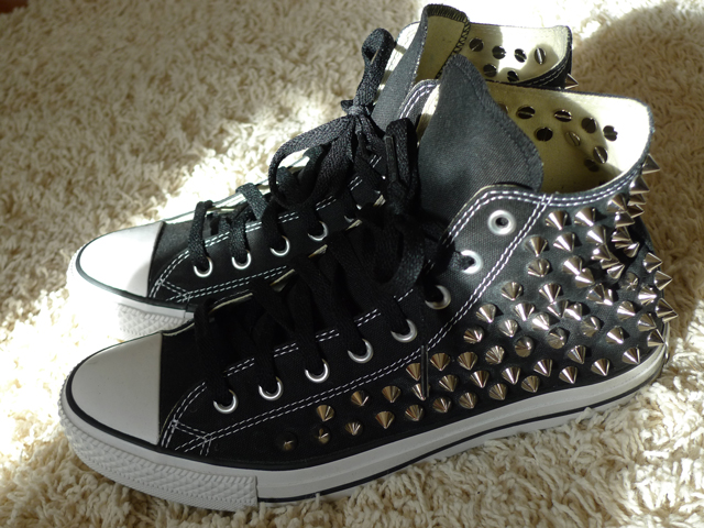 Check out the completed pics of my custom Studded Converse Chuck Taylor All  Star High Tops below!! 5aae50a56
