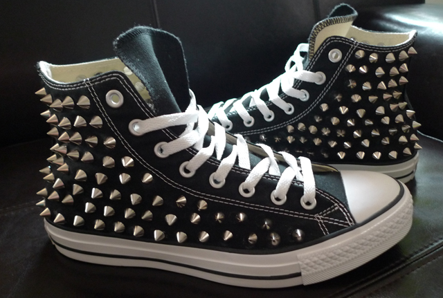 da8a58e10545 Fashion DIY - COMPLETED Studded Converse High Tops — SOLIFESTYLE®