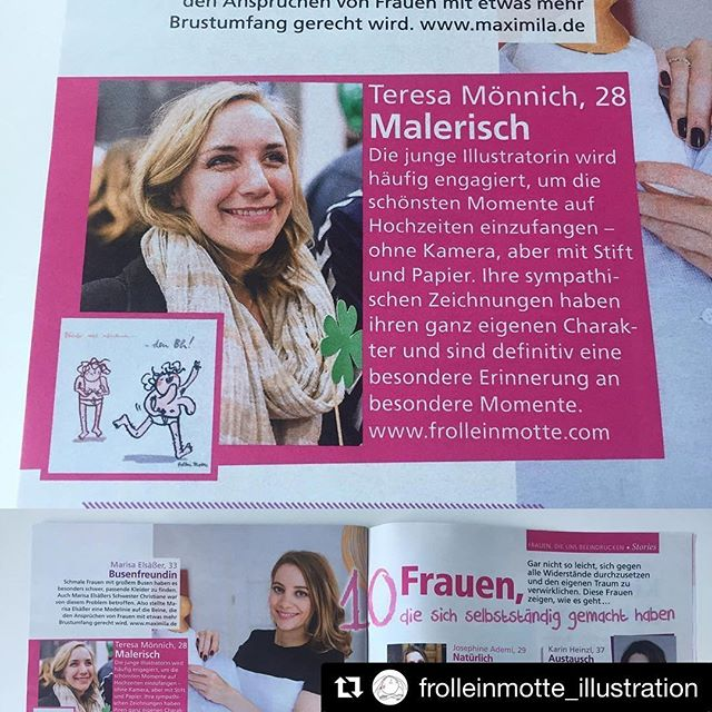 #Repost @frolleinmotte_illustration in der Myillu 5/2017 ❤️ ・・・ Foto: @ganz_in_weise_fotografie ************************* #illustrator #illustration #illustrationart #interview #pink #magazine #myillu #hochzeit #illustrativheiraten #illustrativ_heiraten #hochzeitsillustration #motti #brüste