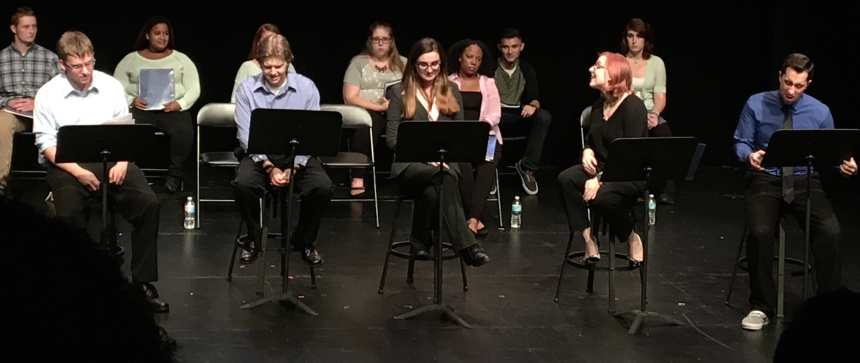 The SUNY Brockport cast of Your Wings Have Eyes (now titled Love 95 Times)